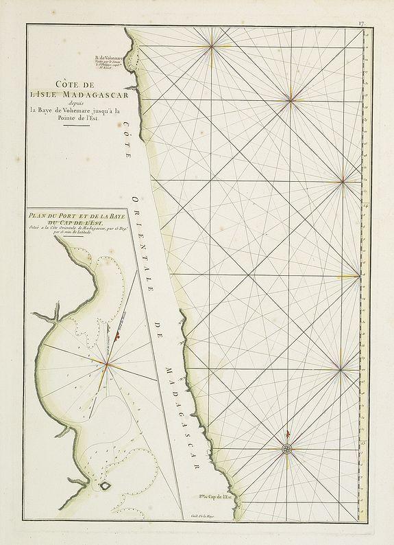 D'APRES DE MANNEVILLETTE. -  Côte de l'Isle de Madagascar depuis la Baye de Vohemare jusqu'à la pointe de l'Est. Plan du Port et de la Baye du Cap de l'Est.