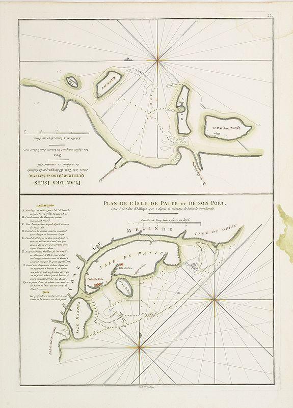 D'APRES DE MANNEVILLETTE. -  Plan des Isles Querimbo, Oybo, et Matemo /  Plan de l'Ile de Patte et de son Port.