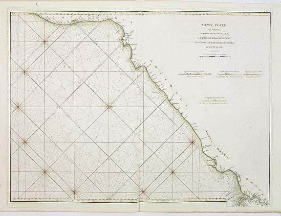 D'APRES DE MANNEVILLETTE. -  Carte Plate qui comprend La partie septentrionale de LA Cöte de Coromandel et les Côtes de Golconde , D' Orcha et de Bengale.