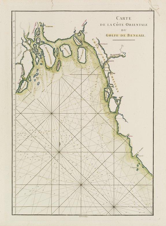 D'APRES DE MANNEVILLETTE. -  Carte de la Côte Orientale du Golfe du Bengale.