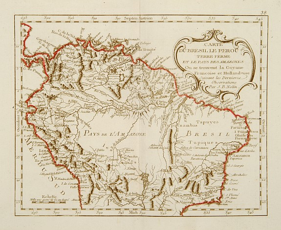 MONDHARE / NOLIN,J.B. -  Carte du Bresil Le Perou Terre ferme  et le Pays des Amazones..