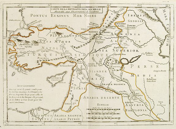 MONDHARE / NOLIN, J.B. -  Carte de la Retraite des Dix Mille Accordée aux Observations de l'académie. . .