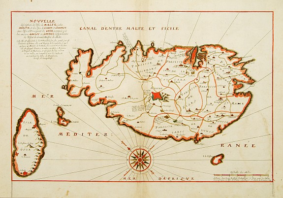 BOISSEAU, J., Nouvelle Description de l'Isle de Malte jadis Melita, et des Isles de Comin et Cominot, avec l'Isle et Principaut� de Goze.., antique map, old maps