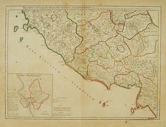 DE L'ISLE, G. / BUACH, Ph. / DEZAUCHE. -  Regionum Italiae mediarum Tabula Geographica. . .