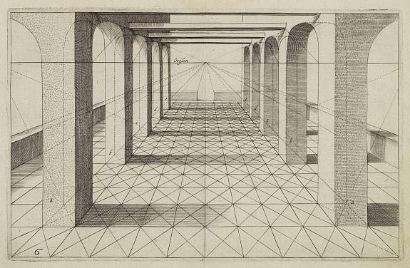VREDEMAN DE VRIES, J. / HONDIUS, H. -  Perspective print by Vredeman de Vries.
