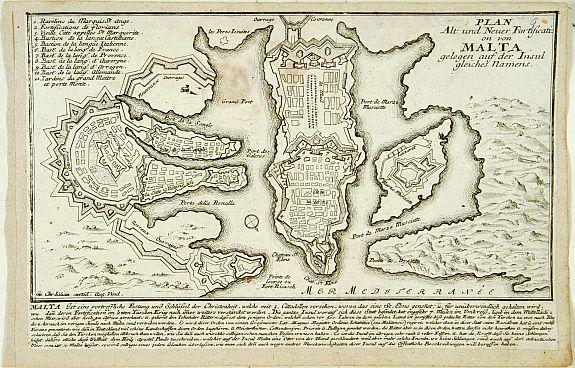 KILIAN,G.C., Plan Alt und Neuer Fortificatizon von Malta gelegen auf der Insul gleiches Namens. [Valletta], antique map, old maps