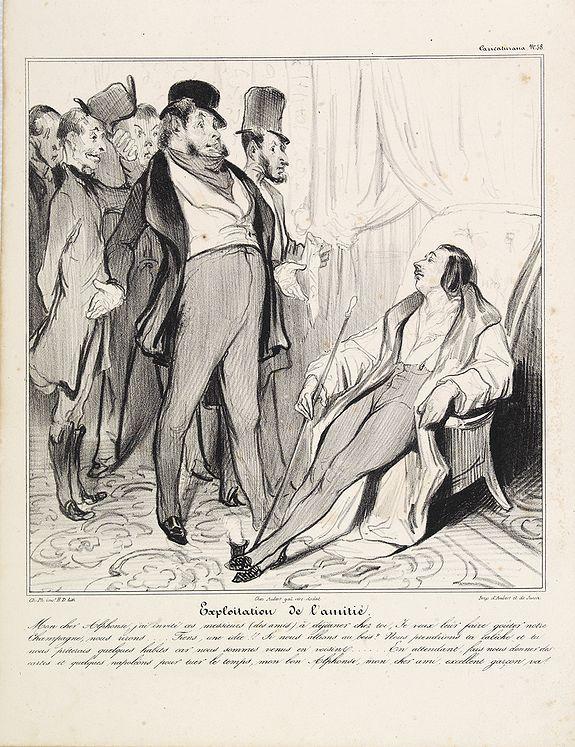DAUMIER, H. -  [Macaire] Exploitation de l'amitié. Mon cher Alphonse... (Plate 58)