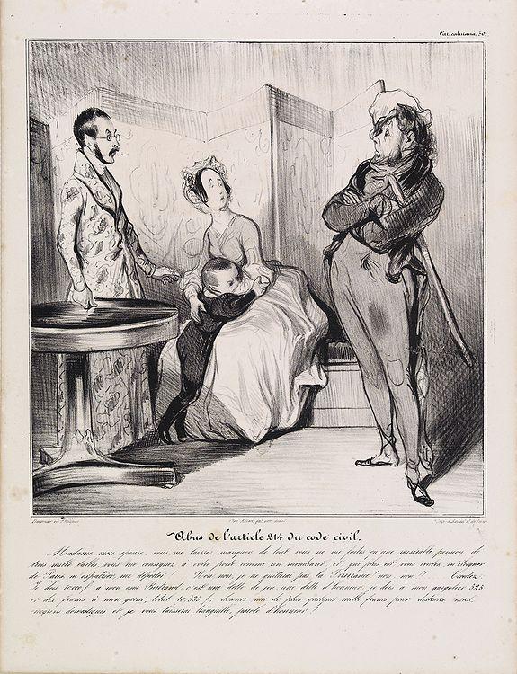 DAUMIER, H. -  [Macaire] Abus de l'article 214 du code civil. Madame mon épouse... (Plate 50)