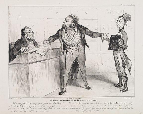 DAUMIER, H. -  Robert-Macaire renait de ses cendres. Par ma foi! La compagnie . . . (Published in Caricaturana, plate 21)