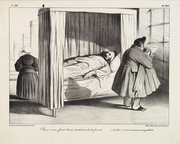 DAUMIER, H. -  Yeux noirs, front haut, teint brun, barbe, favoris...c'est bon! ...on te reconnaîtra, mon gaillard. (from La Caricature, Plate 391)