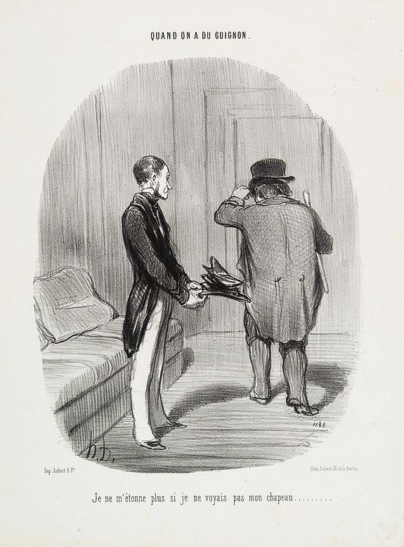 DAUMIER, H. -  Quand on a du guignon. Je ne m'étonne plus si jevoyais pasmon chapeau . . .