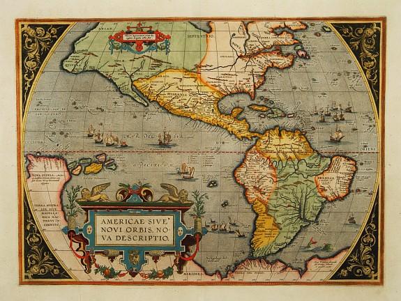 Old map by ORTELIUS,A. - Americae sive novi orbis, nova descriptio.