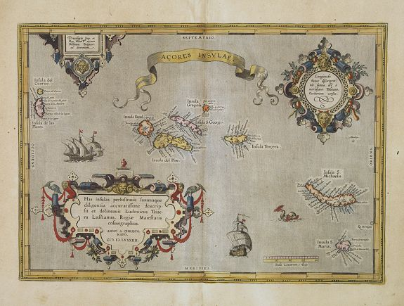ORTELIUS, A.,  A�ores Insulae., antique map, old maps