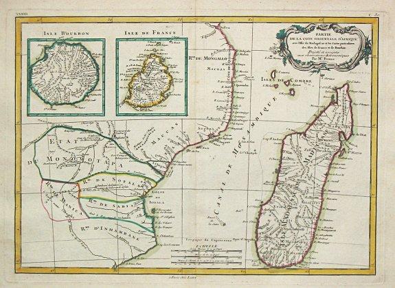 Lattré, J. / R.Bonne. - Parte de la Cote Orientale d' Afrique avec l' Isle de Madagascar et les Cartes particulières des Isles de France et de Bourbon.