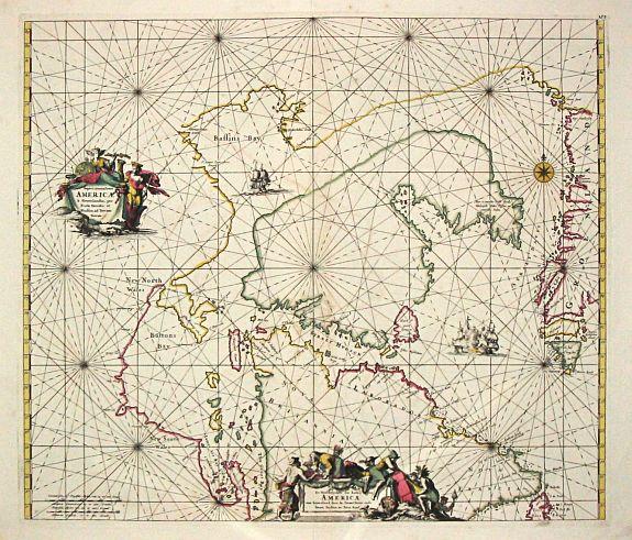 WIT, F. de. - Septentrionaliora Americae e Groenlandia per Fretus Davidis et Hudson, ad Terrum Novam.