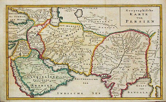 Persien Karte.Old Map By Baumgarten Geographische Karte Von Persien Arabia