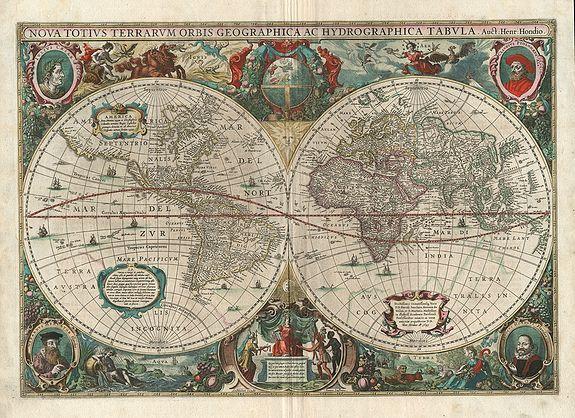 HONDIUS, H. / JANSSON, J. - Nova Totius Terrarum Orbis Geographica ac Hydrographica Tabula.