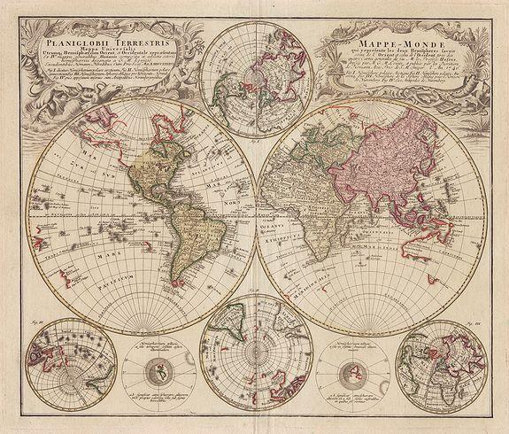 HOMANN HEIRS. - Planiglobii Terrestris Mappa Universalis ... / Mappe-Monde qui represente les deux Hemispheres …
