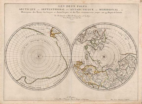 SANSON, N. / MARRIET, P. - Les deux poles articque ou septentrional, et antarticque ou meridional, …