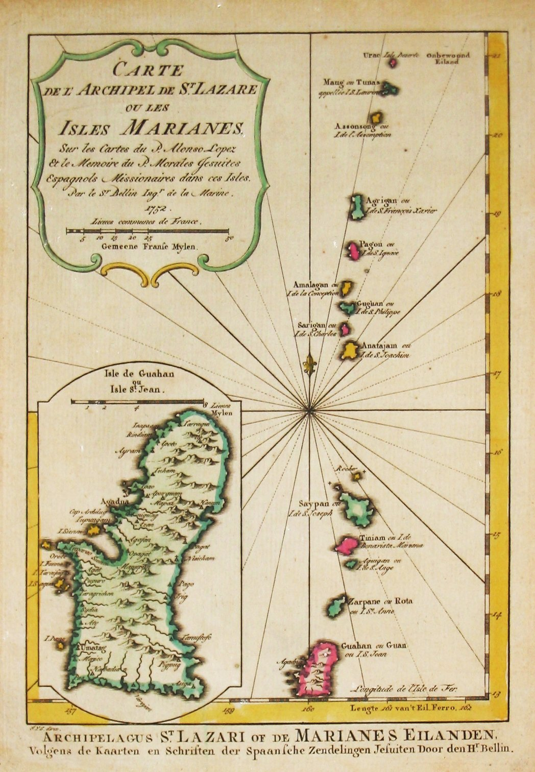 BELLIN, J., Carte des Isles. Marianes., antique map, old maps