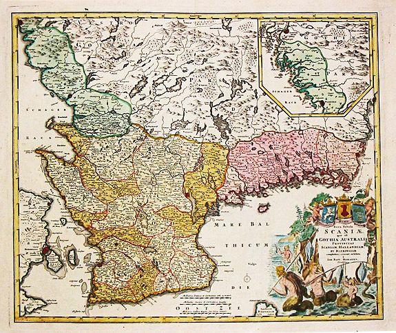 Homan, J.B. - Nova Tabula Scaniae, que est Gothia Australis Provincias Scaniam, Hallandiam et Blekingiam.