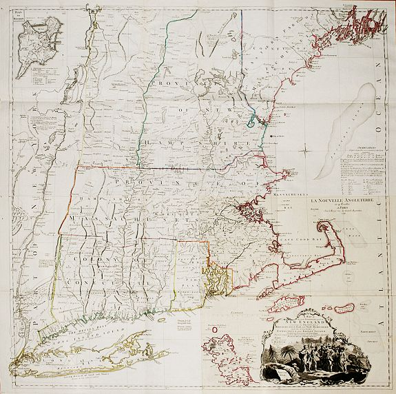 LE ROUGE, G. L. - A Map of the most Inhabited part of New England containing the Provinces of Massachusets [sic] Bay and New Hampshire, with the Colonies of Conecticut [sic] and Rhode Island, Rouge, G.L. le. / Jefferys-Green
