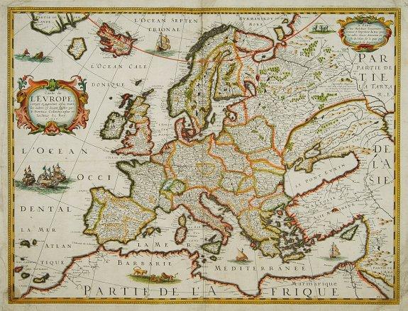 BERTIUS, P./ TAVERNIER, M. -  Carte de L'Europe, corrigée et augmentée desus toutes les autres cy ..