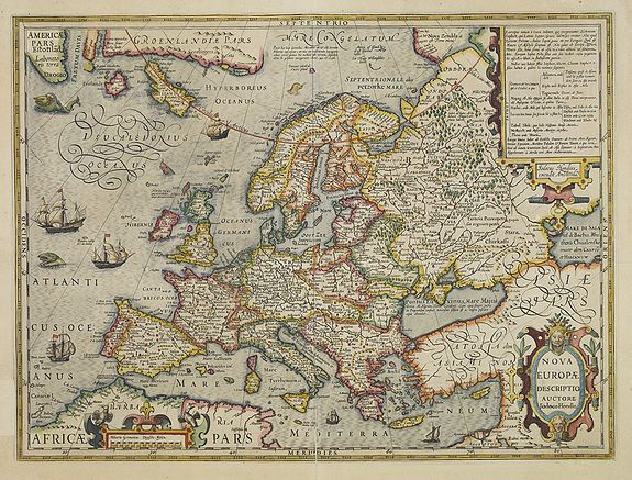HONDIUS, J. -  Nova Europae Descriptio Auctore Jodoco Hondio.