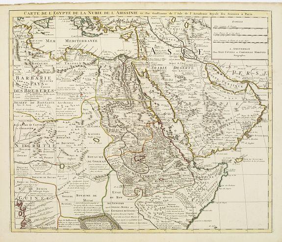 COVENS, J. / MORTIER, C. -  Carte de l'Egypte de la Nubie de L'Abissinie &c..