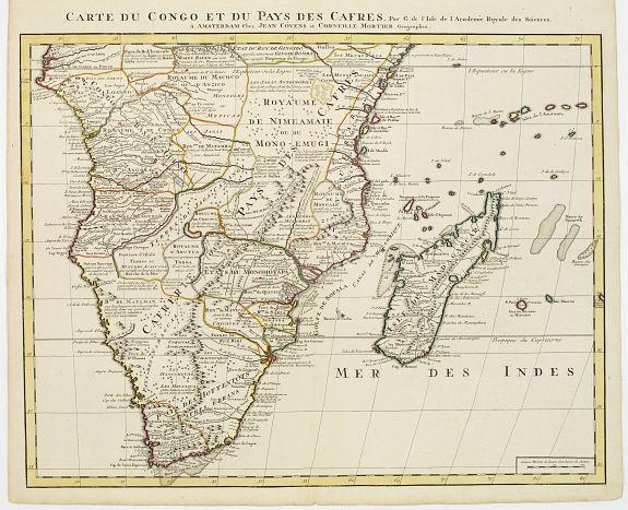 COVENS, J. / MORTIER, C. -  Carte du Congo et du Pays des Cafres.