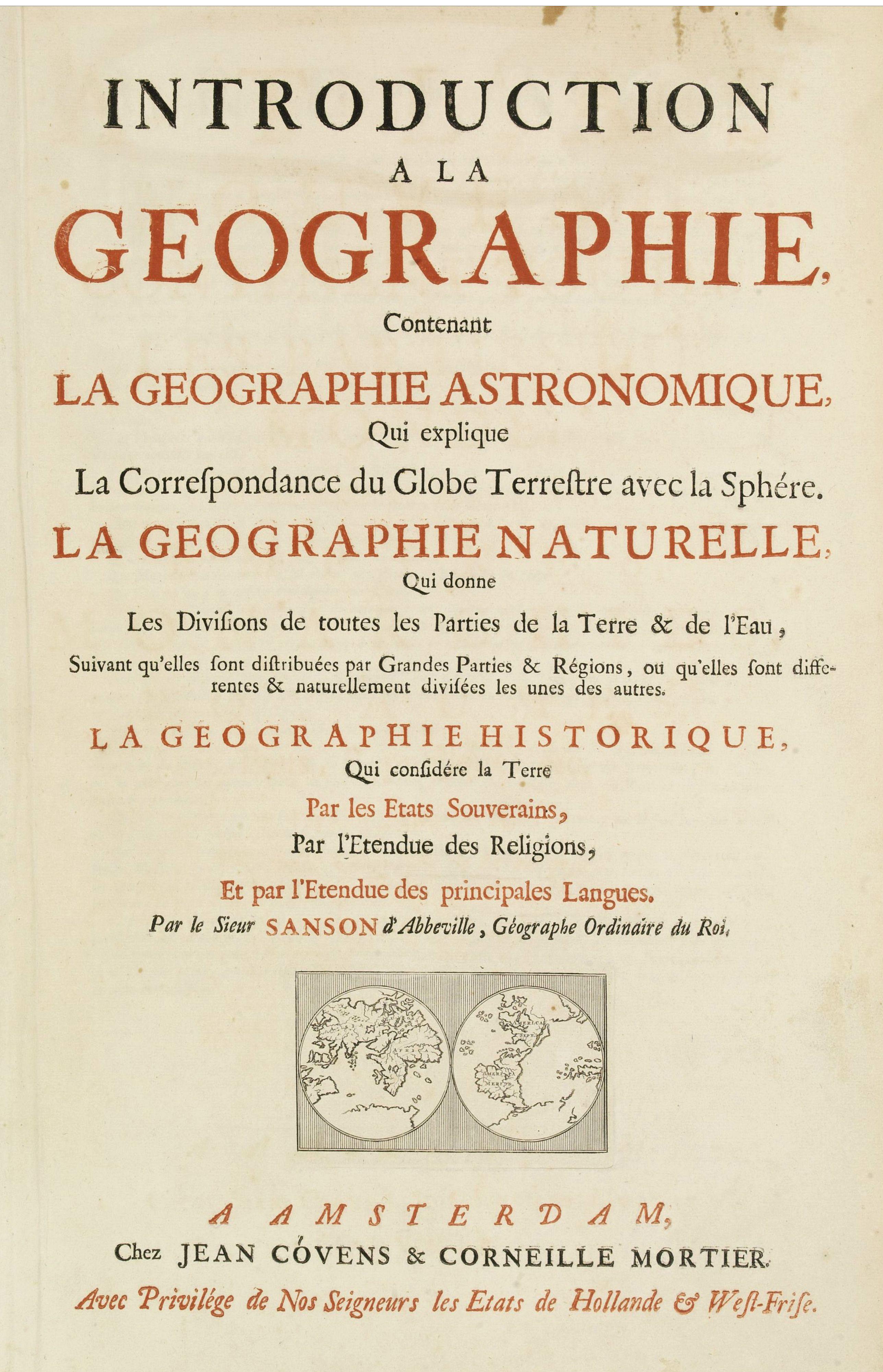 COVENS, J. / MORTIER, C. -  Title page: Introduction a la geographie, Contenant.. (2 sheets)