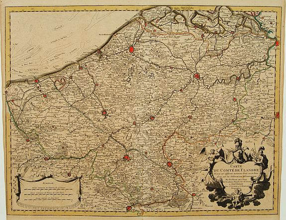 COVENS, J. / MORTIER, C.,  Carte du Comté de Flandre, Dressée sur differens. . ., antique map, old maps