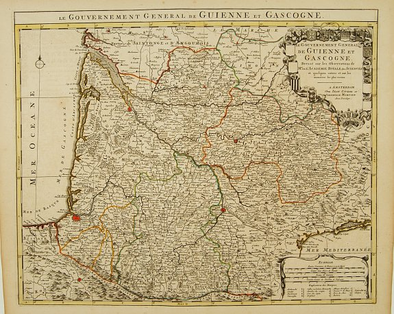 Map Of France Gascony.Old Map By Covens Le Gouvernement General De Guienne Et Gascogne
