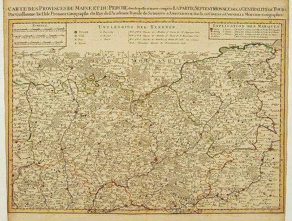 COVENS, J. / MORTIER, C. - Carte Des Provinces Du Maine et Du Perche dans la quelle..
