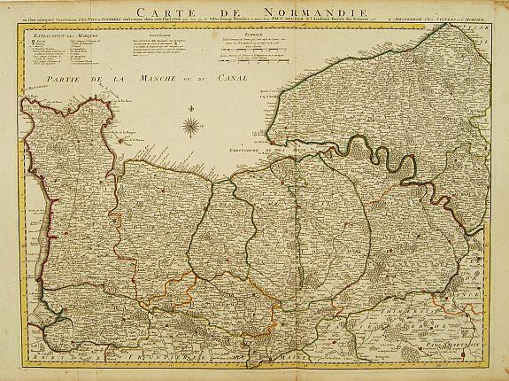 COVENS, J. / MORTIER, C. -  Carte De Normandie ou sont marquez exactement Les Pays ou Contrees enfermées dans cette Province..