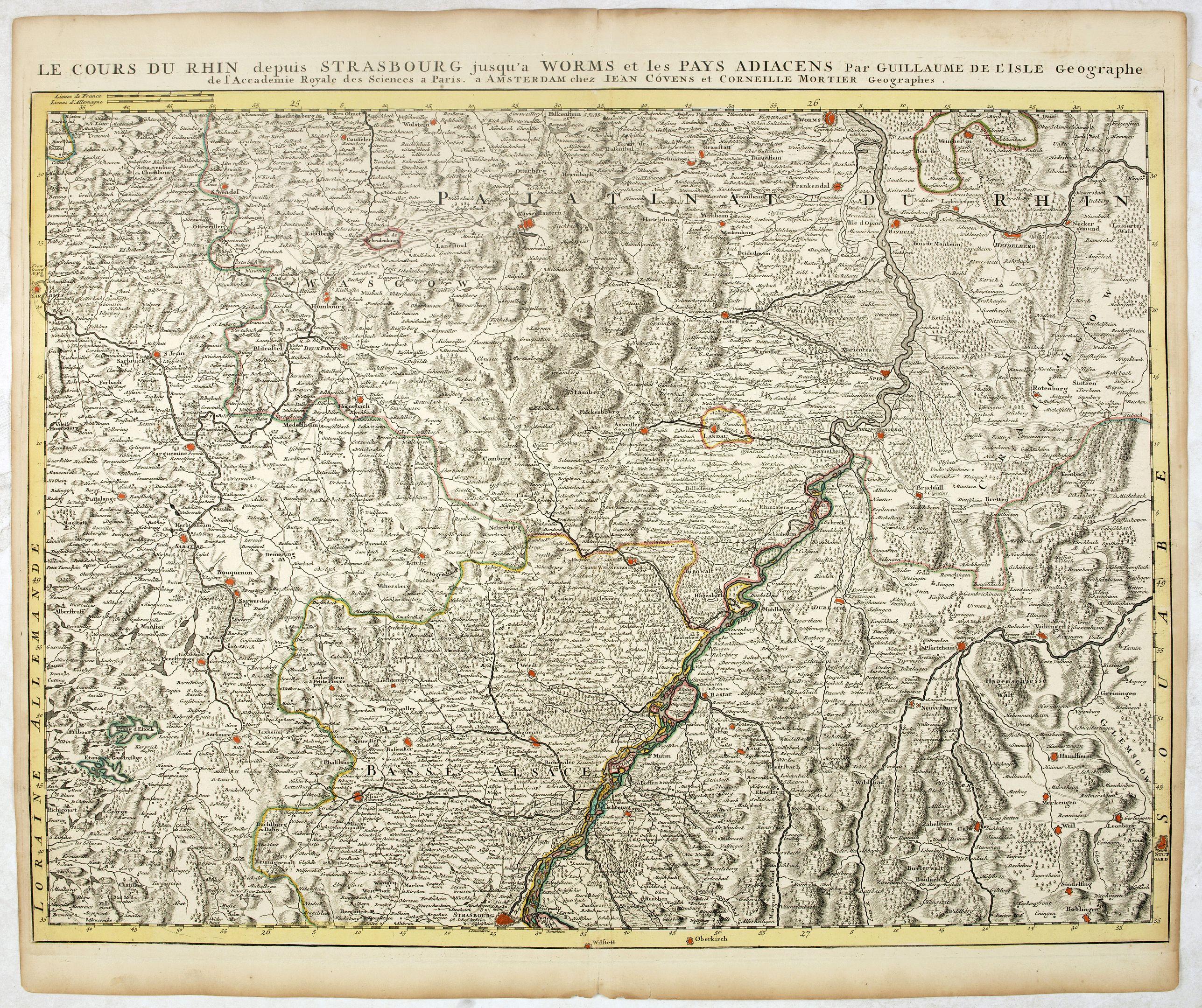 COVENS, J. / MORTIER, C. -  Le Cours du Rhin depuis Strasbourg jusqu'à Worms et les Païs Adjacens.