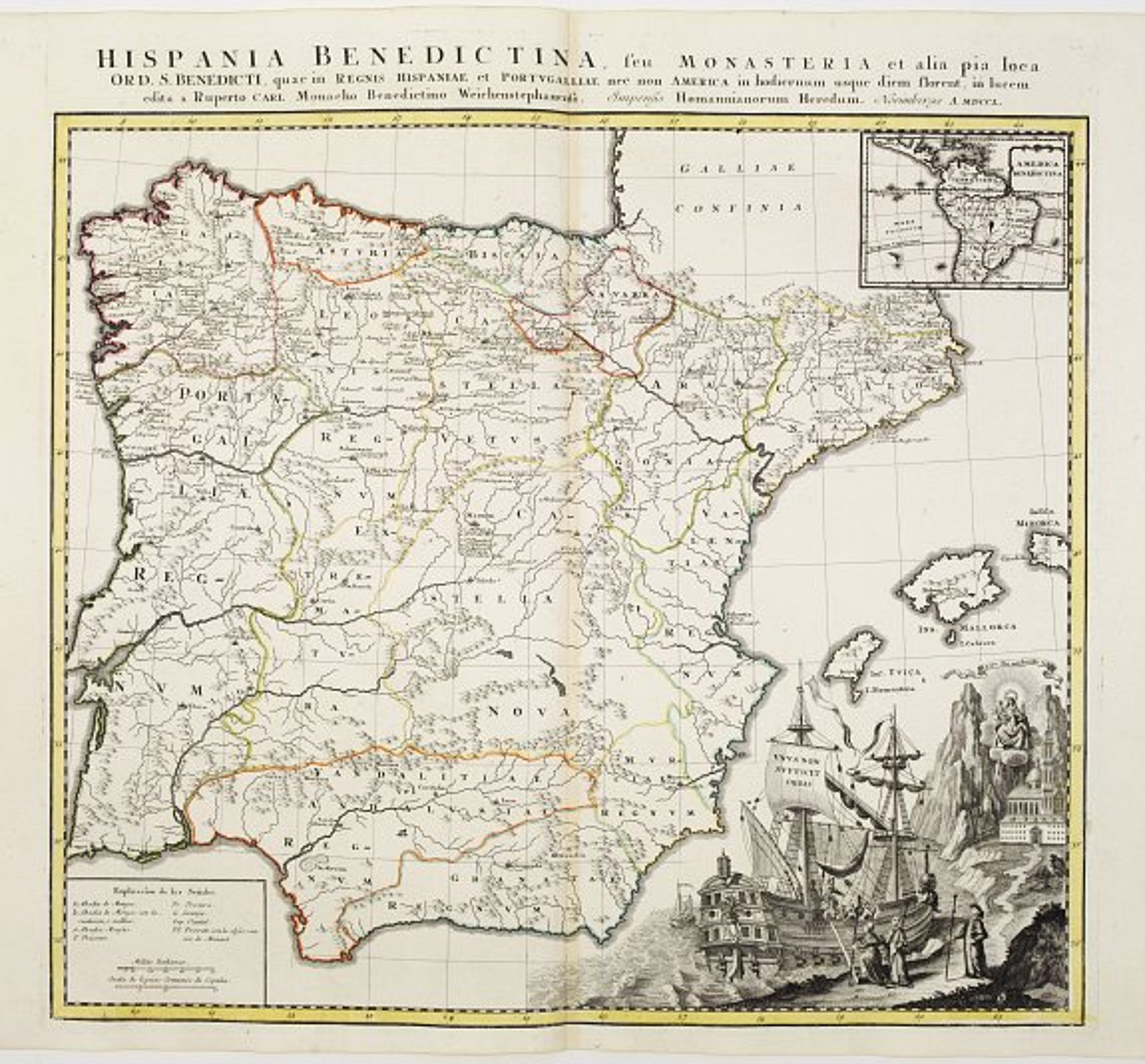 HOMANN, J.B. -  Hispania Benedictina, seu Monasteria et alia pia loca Ord. S. Benedicti ..