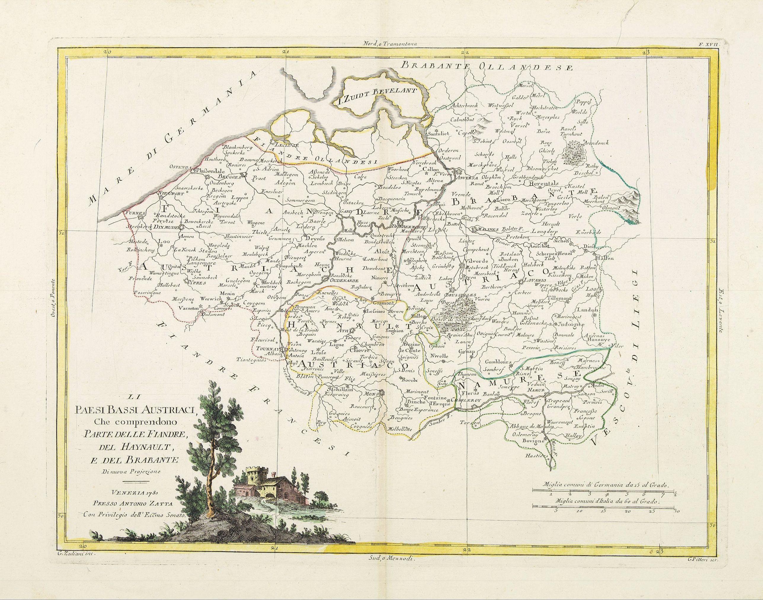 ZATTA, A. -  Il Paesi Bassi Austriaci, che comprendono parte delle Flandre, del Haynault, e del Brabante.