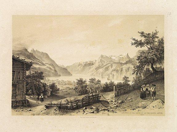 BILLMARK, C.J. -  Brunnen et une Partie du Lac des Quatre Cantons.
