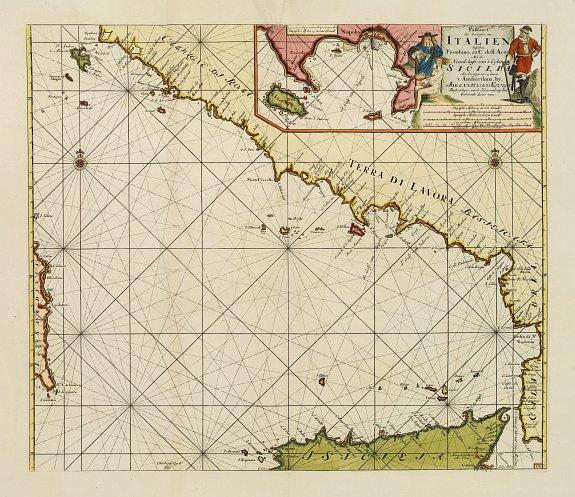 KEULEN, J. VAN -  Paskaart der Zeekusten van Italien Tusschen Piombino en C. dell Arme Met de Noord-kust van 't Eylandt Sicilia..