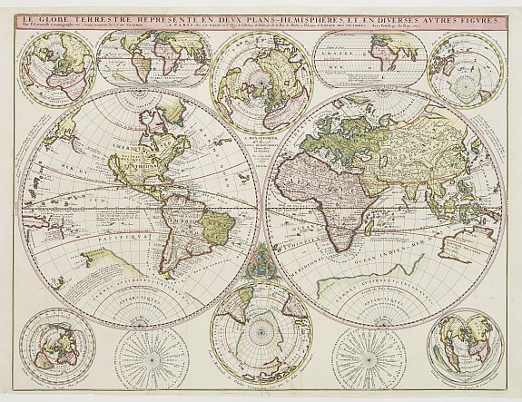 CORONELLI, V. / DE TILLEMONT. / NOLIN. -  Le Globe Terrestre Represente en Devx Plans Hemispheres, Et