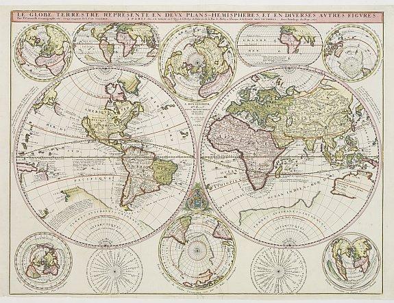 CORONELLI, V. / DE TILLEMONT. / NOLIN. -  Le Globe Terrestre Represente en Devx Plans Hemispheres, Et en Diverses Avtres Figvres.