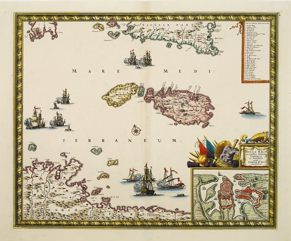 DE WIT,F., Insula Malta accuratissime Delineata, Urbibus, et Fortalitis.., antique map, old maps