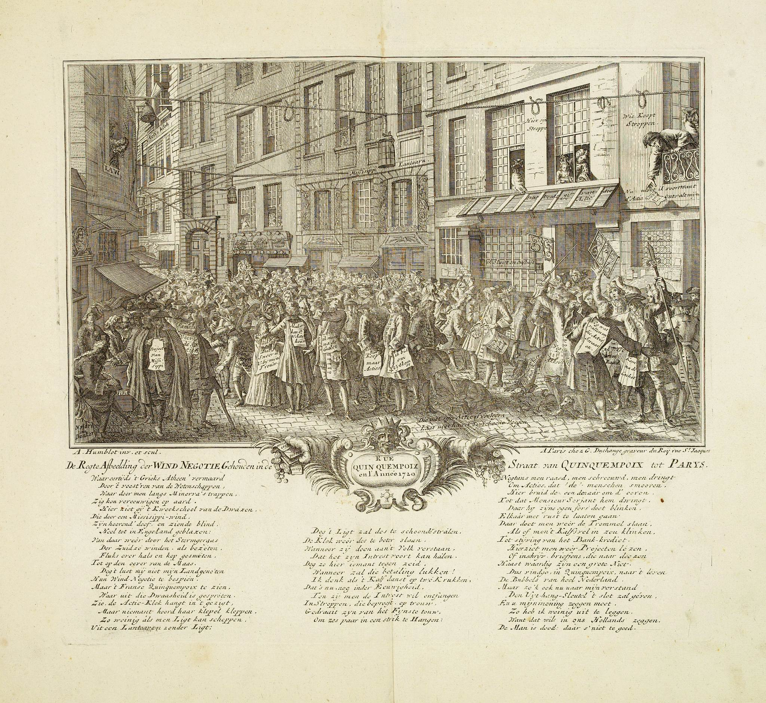 ANONYMOUS -  Rue Quinquempoix en l'année 1720. De regte afbeelding der wind negotie gehouden in de straat van Quinquempoix tot Parys.
