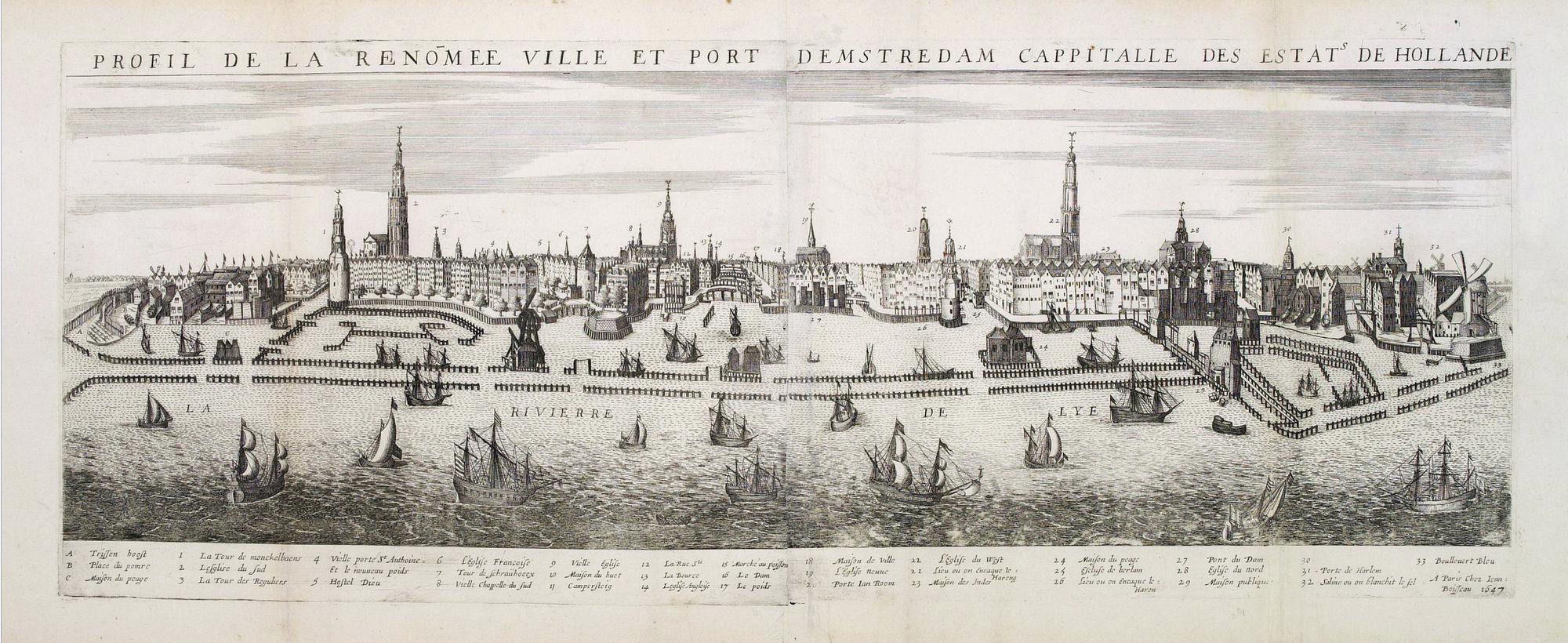 BOISSEAU, J. -  Profil de la renomée ville et port d'Emstredam cappitalle des estats de Hollande.
