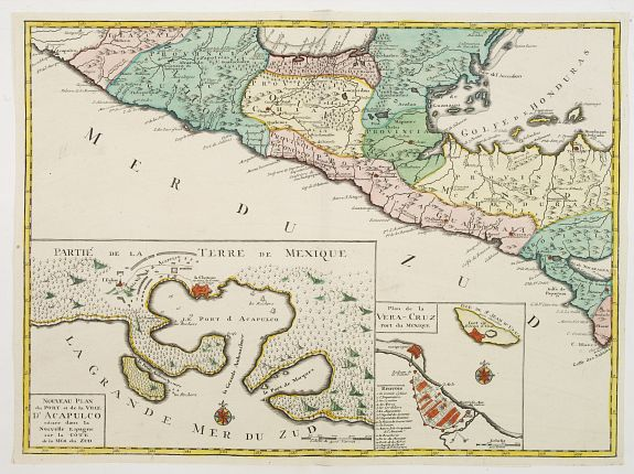 OTTENS, R. / J.,  Central America, with inset maps of Acapulco and Vera-Cruz., antique map, old maps