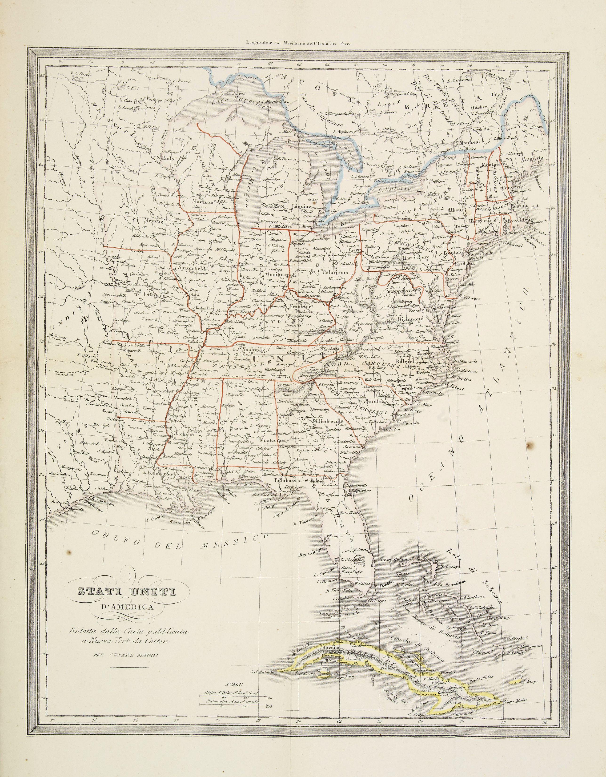 DOYEN, Fr. -  Stati Uniti d'America. Ridotta dalla Carta pubblicata a Nuova York du Colton.