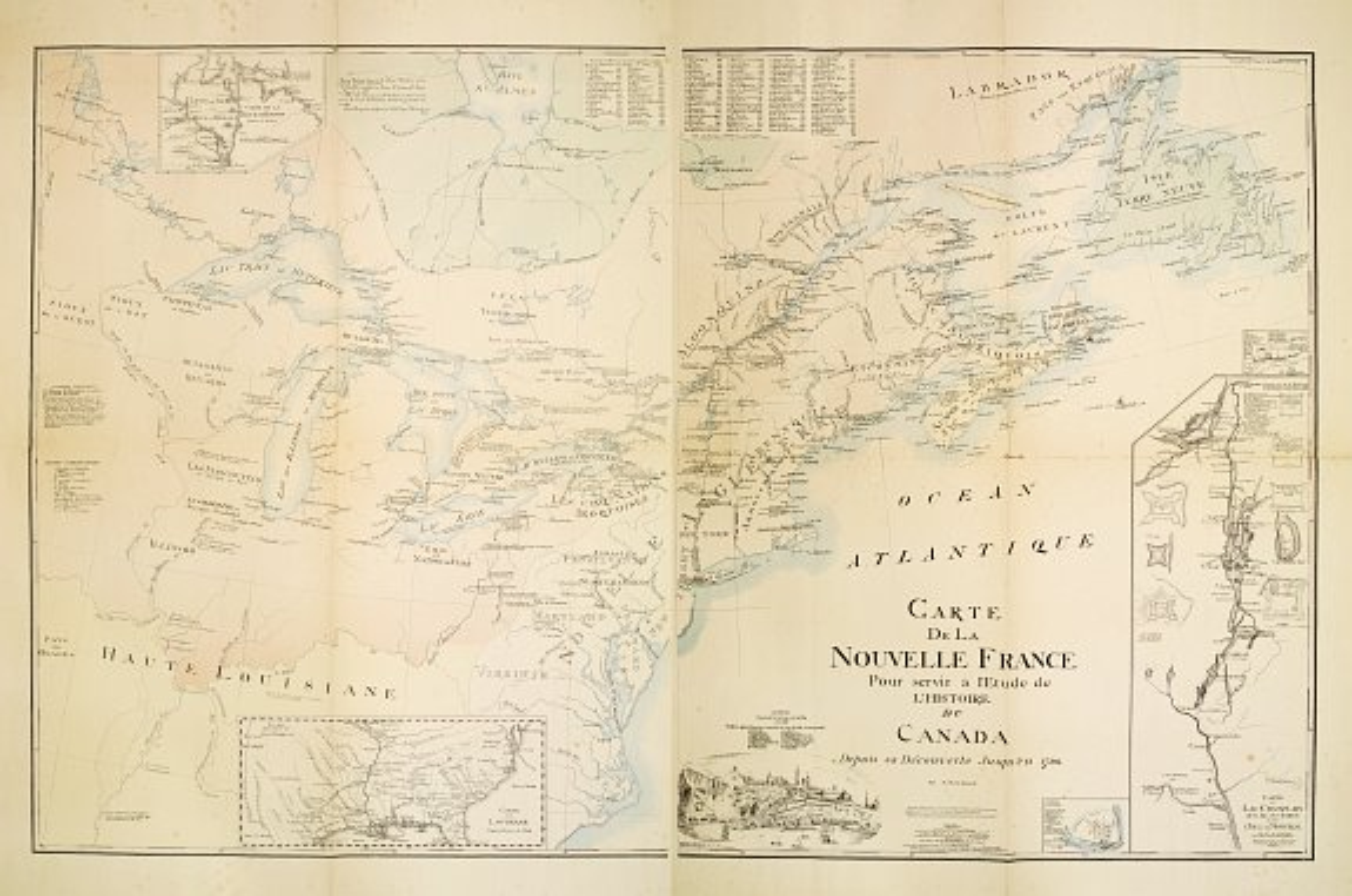 GANEST, P.M.A. -  Carte de la NOUVELLE France Pour servir à l'Etude de l'Histoire du Canada Depuis sa Découverte jusqu'en 1760.