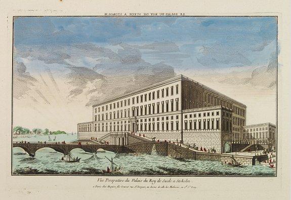 HUQUIER -  Vue Perspective du Palais du Roy de Suede a Stokolm.