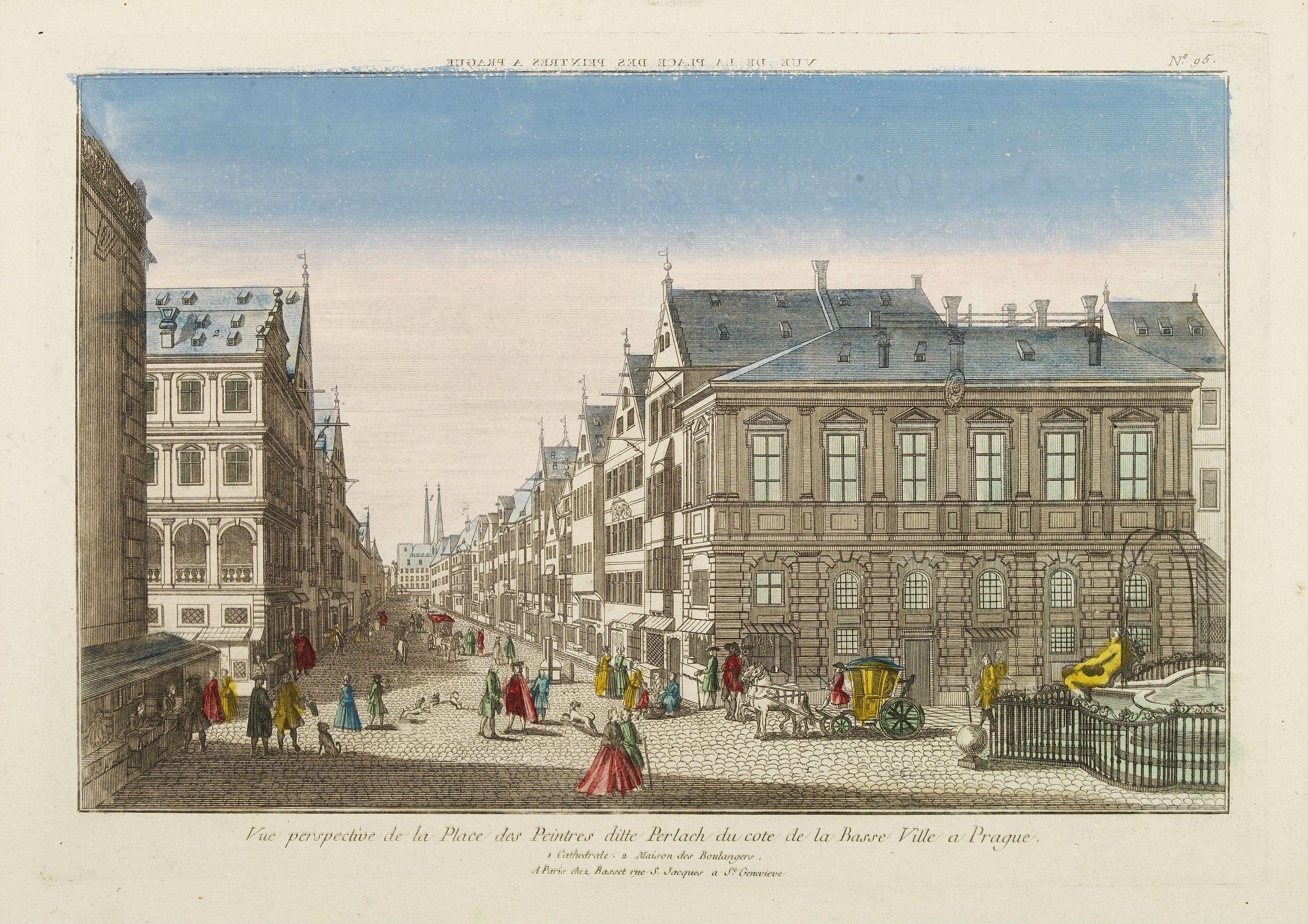 BASSET -  Vue perspective de la Place des Peintres ditte Perlach du cote de la Basse Ville a Prague.